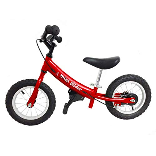Mini Glider Kids Balance Bike with Patented Slow Speed Geometry (Red)]()