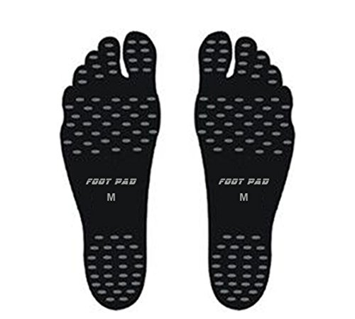 Black Contessa Shoes (Beach Barefoot Shoes Fashion Foot Stickers Soles Insulated Insoles Invisible Shoes Stick on Feet (Small, Black))