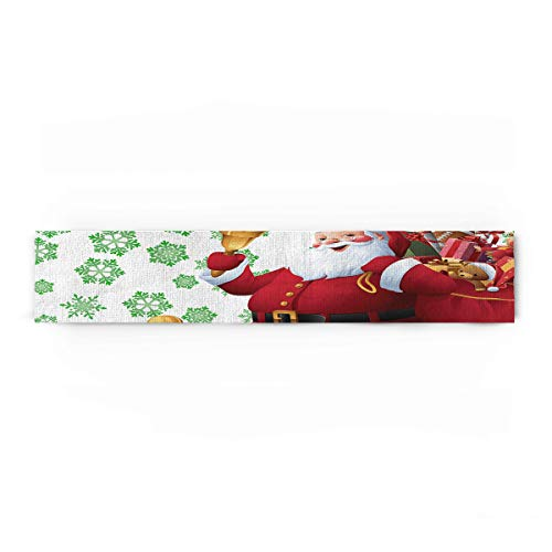 Prime Leader North Pole Santa Claus and Snowflake Cotton Linen Table Runner Party Supplies Home Decorations for Kitchen Dining Room Wedding Birthday Baby Shower & Everyday Use 18 x 72 -