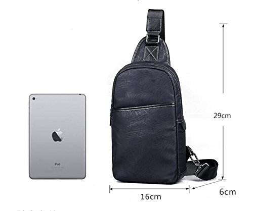 Bag Casual Backpack Chest Canvas Black Men's Shoulder Messenger fwIIq56