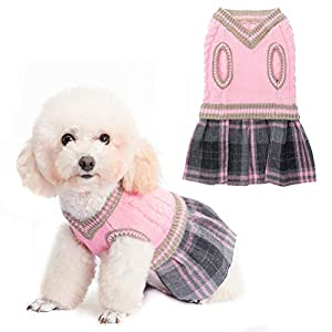 BINGPET Cute Dog Sweater Dress – Warm Pullover Puppy Cat Knit Clothes with Classic Plaid Pattern for Fall Winter