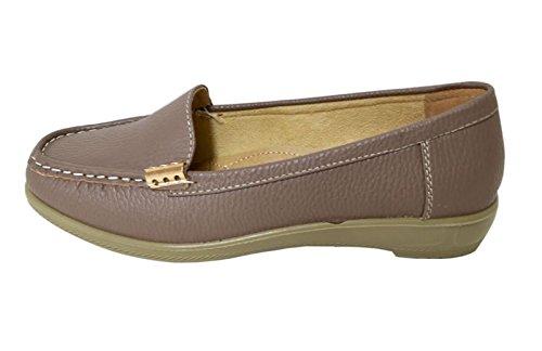 Lacci Delle Donne Morbide Fibbie Traforate In Ecopelle Mocassino Mocassino Slip On Shoes (wiwi) 03-grigio