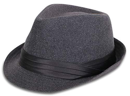 Simplicity Men's Manhattan Fedora Hat Grey Color Cap