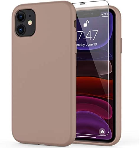 """DEENAKIN iPhone 11 Case with Screen Protector,Soft Liquid Silicone Gel Rubber Bumper Cover,Slim Fit Shockproof Protective Phone Case for iPhone 11 6.1"""" Light Brown"""