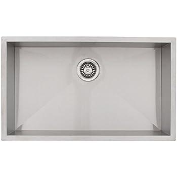 28   phoenix ph 0863 undermount 16 gauge stainless steel square kitchen sink with zero bai 1221   27   handmade stainless steel kitchen sink single bowl      rh   amazon com