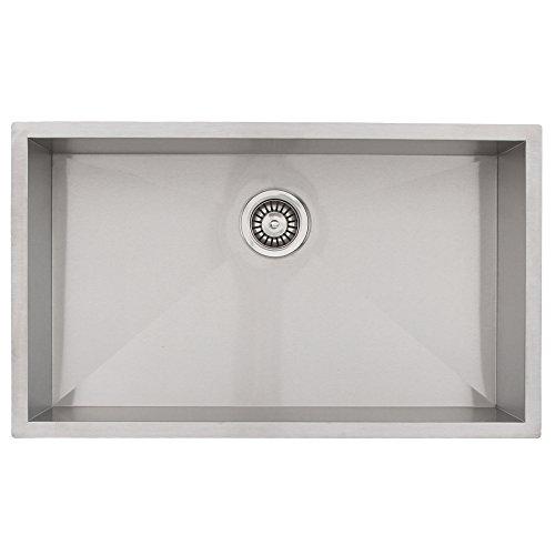 "26"" Phoenix PH-0763 Undermount 16 Gauge Stainless Steel Square Kitchen Sink with Zero Radius Corners"