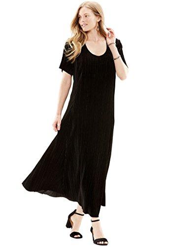 Dress Black Size Pleated Plus Woman Within Velour Fnxqswry
