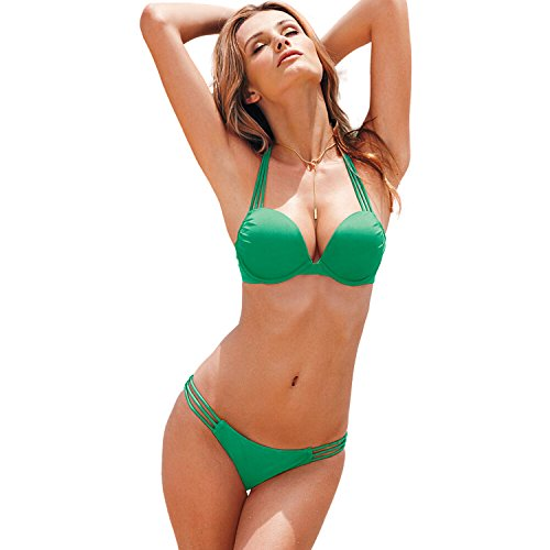 Ensasa Hot Sexy 2 PCs String Padded Cover Up Brailian Bikini Swimsuit Swimwear, Green M