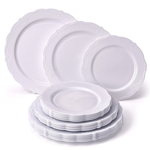 Vintage Collection Dinnerware Set | Party Disposable 120 PC Elegant Plastic Dishes | 40 Dinner Plates | 40 Salad Plates | 40 Dessert Plates | Upscale China Look | For Fine Dining (White)