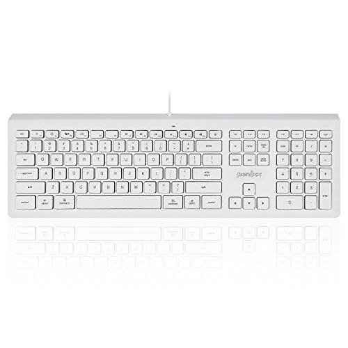 Perixx PERIBOARD-323 Wired Backlit Keyboard for Mac OS X, X Type Scissor Keys, White LED, Full Size Layout