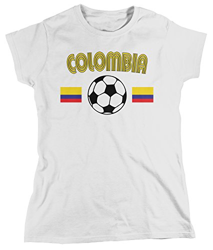 (Amdesco Women's Colombia Soccer, Colombian Football T-shirt, White Medium)