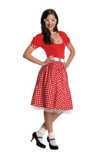 Secret Wishes 50s Nerd Girl, Red/White, Large