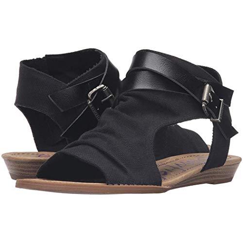 Susens Women Flat Sandals Roman Open Toe Buckle Solid Sandal Flats Black