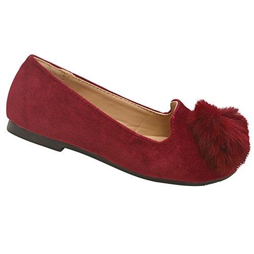 Girls Burgundy Faux Fur Embellished