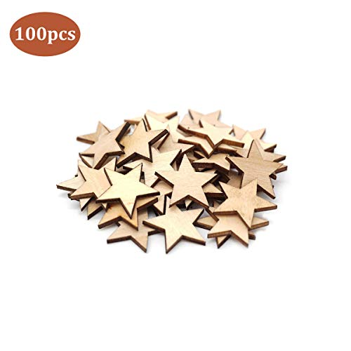 100PCS Natural Wooden Star, Unfinished Wood Ornaments, Christmas Star Hanging Ornaments, Little Star Cutout Shape, DIY Decorating Photo Props for Arts, Crafts & Sewing(30mm)