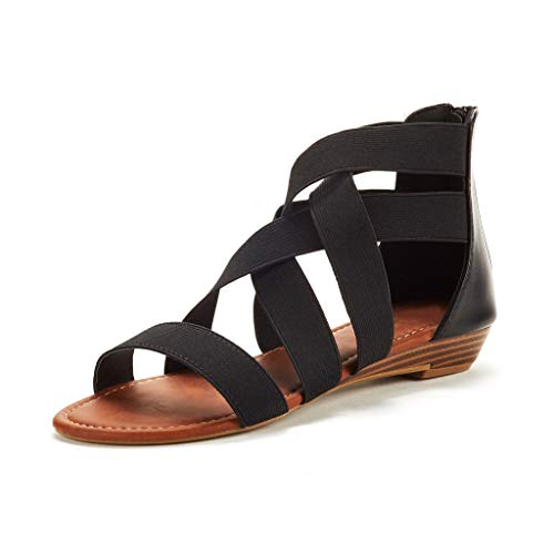 Sanyyanlsy Women Cross Stretch Fabric Hollow-Out Sandals Flat Low Heel Sandals Zipper Wedage Gladiator Ankle Shoes Black
