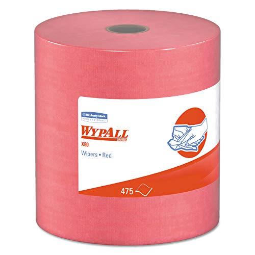 WypAll 41055 X80 Cloths, HYDROKNIT, Jumbo Roll, 12 1/2 x 13 2/5, Red, 475 Wipers/Roll ()