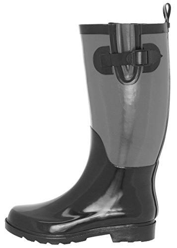 Capelli New York Damene To Tone Høye Gummi Regn Boot Svart Combo