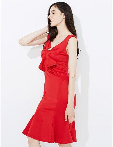 Del Sin Fiesta Del Mujer Trabajo De Slim Fiesta Mujeres Rojo Las Mangas De Parte Hombro JIALE3536 Fuera Vestido Vestido qA7xp6wwI
