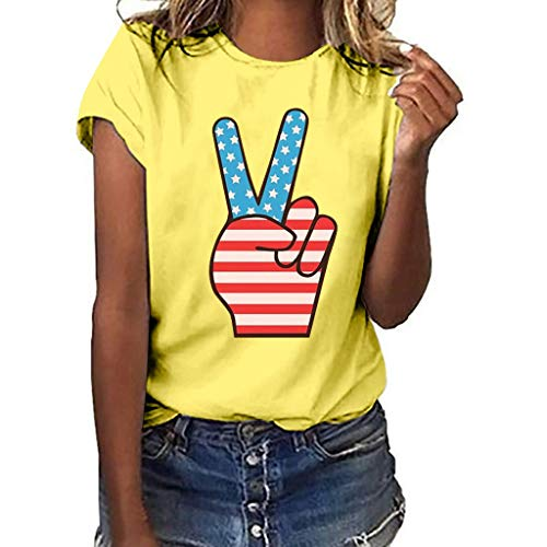 YOCheerful Women Plus Size Tops Independence Day Print Short Sleeve T-Shirt Cute Blouse Loose Tops (Yellow, M) (Wharton Tshirt)