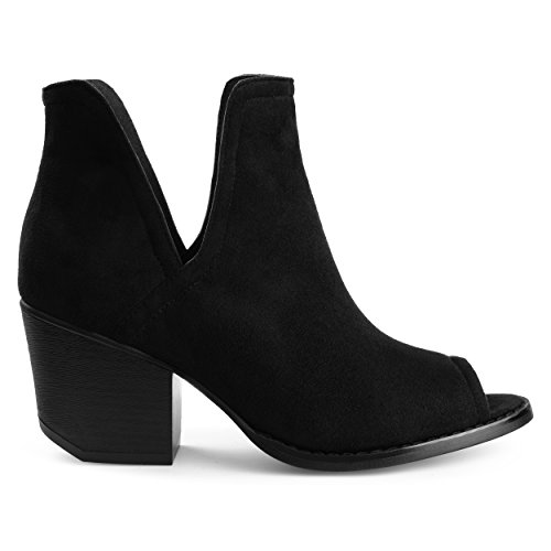 Brinley Co. Womens JENA Faux Suede Side-Slit Peep-Toe Ankle Booties Black, 6.5 Regular ()