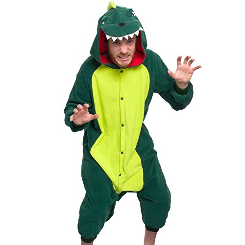 Silver Lilly Adult Pajamas - One Piece Cosplay Animal Costume (Dinosaur, XL) - Boxer 4 Piece Costume