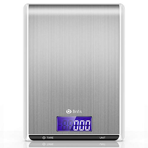 Brifit Digital Kitchen Scale, 5kg/1g Cooking Scale, High Accuracy Food Scale, 7 Units, Back-Lit LCD Display, Tare & Auto Off , Anti-fingerprint, Stainless Steel & Slim Design Batteries Included