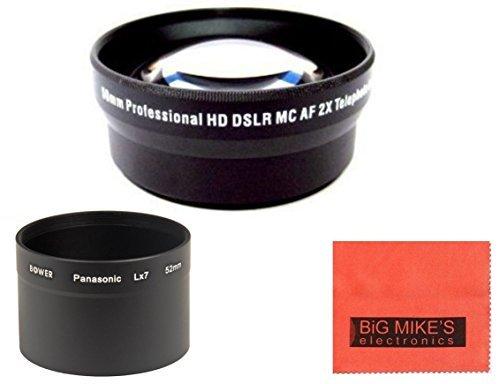 52mm 2X Telephoto Lens for Panasonic LUMIX DMC-LX7K Digital Camera + Tube Adapter + More!!
