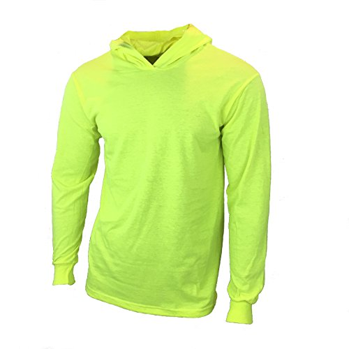 SuNi Apparel Mens High Visibility Shirt Work Long Sleeve Shirt with Hood - Visibility Shirts Safety Long Sleeves (Yellow, Large) (Hooded Long Sleeve Hat)