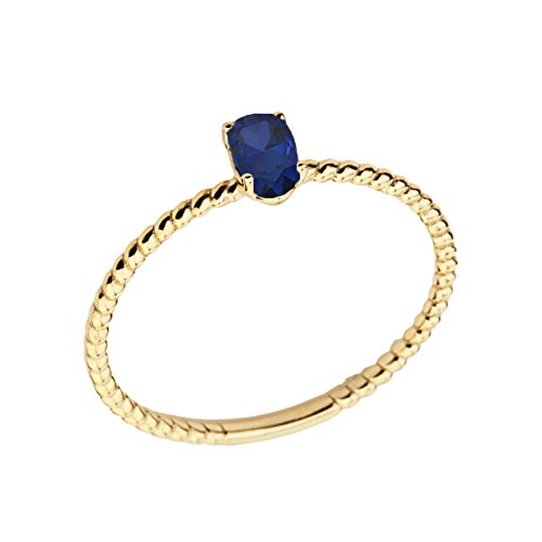 Dainty 10k Yellow Gold Stackable Oval-Shaped Sapphire Rope Engagement/Promise Ring (Size 8.25)