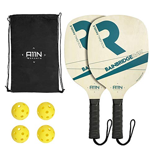 (A11N Pickleball Paddle Set- Includes 2 Wooden Pickleball Paddles, 4 Pickleball Balls and a Drawstring Bag. Great Rackets for Beginners and School Students )