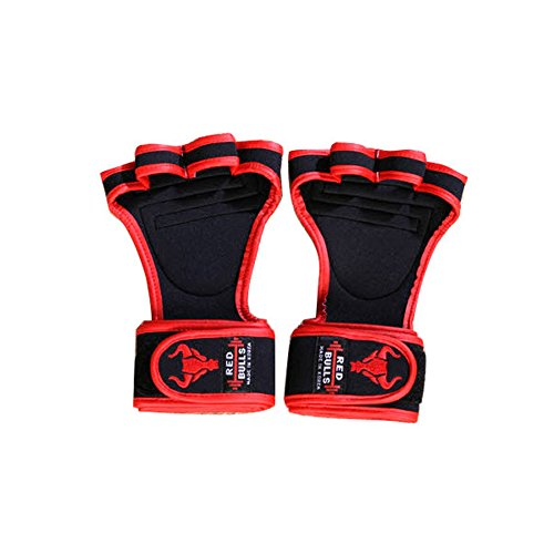 Red Bulls 4 weightlifting gloves Power lifting Health Weight Workout Grip (Redline, M(10.5 x 16x 5(cm)))