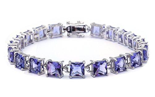 (24CT Princess Cut Simulated Tanzanite .925 Sterling Silver Bracelet)