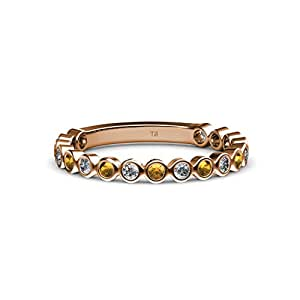 Citrine and Diamond 1.8mm Bezel Set Eternity Band 0.43 ct tw in 14K Rose Gold.size 4.5