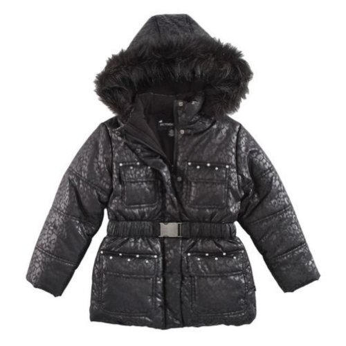 Rothschild Girl Leopard Print Winter Coat Fur Trim Rhinestone Ski Jacket - Coat Rothschild Print