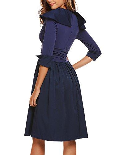 Angvns Manches 3/4 Des Femmes Taille Froncée Une Ligne Plissée Wrap Bleu Marine Robe