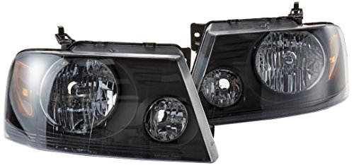 F150 Crystal Headlights (Spec-D Tuning 2LH-F15004JM-RS Ford F150 Black Crystal Head Lights Lamps Pair)
