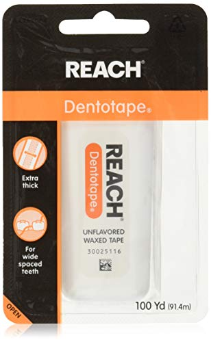 Reach Dentotape Waxed Dental Floss with Extra Wide Cleaning Surface for Large Spaces between Teeth, Unflavored, 100 Yards (Pack of 5)