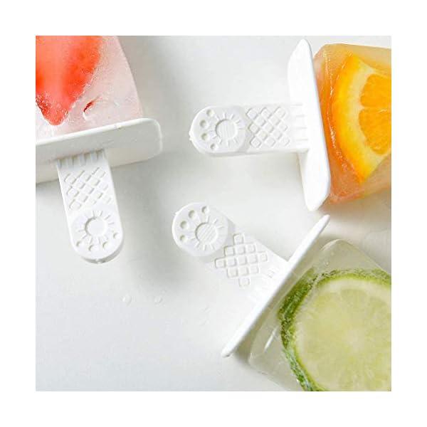 CJMING Stampo Per Gelato, Stampi Per Ghiaccioli in Silicone a 4 Cavità, Stampo Per Gelato Antiaderente, Per Bambini E… 6 spesavip