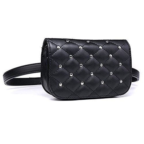 Leather Meliya Phone Cell Bag Bag Pouch Women Retro Fanny Bumbag Travel Fashion Rivets Mini PU Waist Belt Stripes Pack Black 0SFfq1