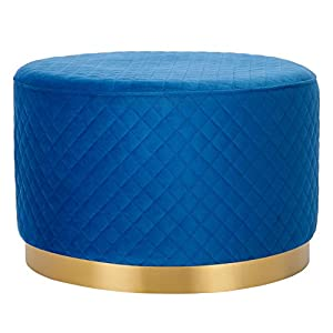 BIRDROCK HOME Round Blue Velvet Ottoman Foot Stool with Lattice Design – Soft Large Padded Stool – Gold Trim – Coffee Table – Great for The Living Room or Bedroom – Decorative Furniture – Foot Rest