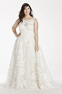 Plus Size Oleg Cassini Tank Lace Wedding Dress with Beads Style 8CWG658