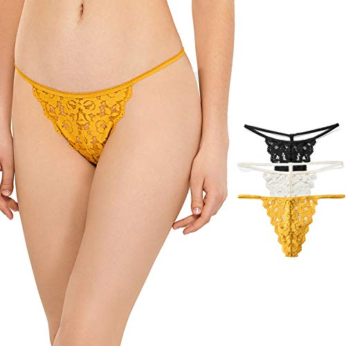 - DOBREVA Women's 3 Pack Low Rise G-String Floral Lace Thong T-Back Panties Black/Ivory/Mustard_3 Pack M