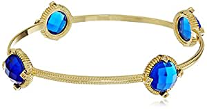 Gold-Tone Faceted Blue Glass and Cubic Zirconia Round Station Bangle Bracelet