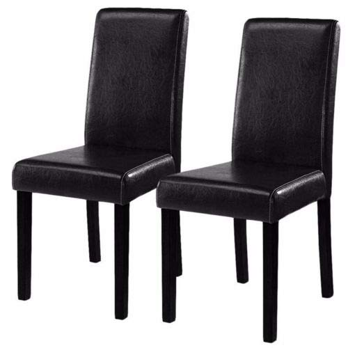- 2pcs Black Elegant Leather Dining Chairs Contemporary Style Fit Home Room with Ebook