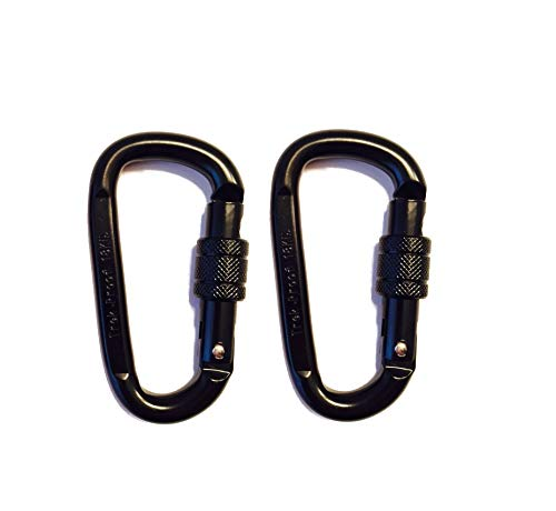 18KN Carabiner Clip Set (2-Pack) Locking D-Ring with Heavy Duty Steel Alloy - Hammocks, Camping, Hiking, Traveling - Black - 4000 lb. Weight Capacity