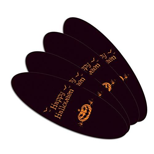 Happy Halloween Holiday Pumpkin Jack-o-lantern Bats Double-Sided Oval Nail File Emery Board Set 4 Pack -