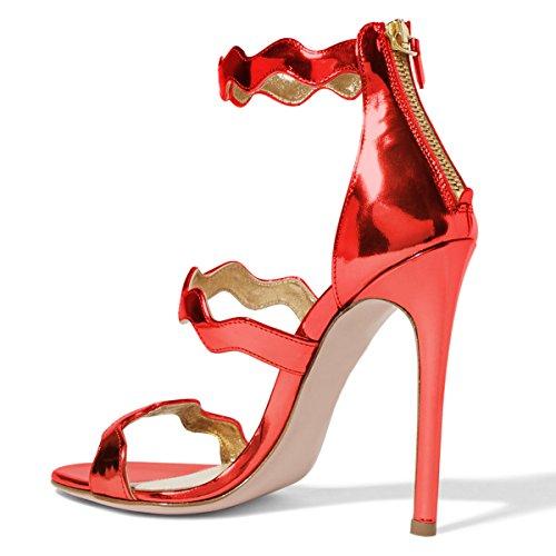 Fsj Donne Caldo Open Toe Sandali Tacco Scarpe Da Sera In Pelle Scamosciata Per La Dimensione Del Partito 4-15 Noi Rosso