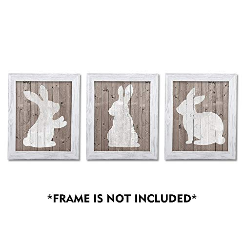 SUMGAR Bunny Wall Art Prints Set of 3 White Rabbit on Wooden Grain Background Paper Posters Rustic Easter Decorations,Unframed 8