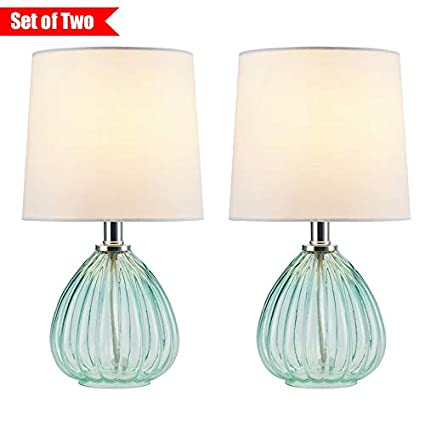 Glass Base Table Lamps Awesome COTULIN Set Of Two Mini Decorative Glass Base Bedside Living Room